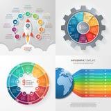 Cuatro plantillas infographic con 9 pasos, opciones, piezas, proceso Imagen de archivo libre de regalías