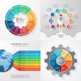 Cuatro plantillas infographic con 8 pasos, opciones, piezas, proceso Fotografía de archivo