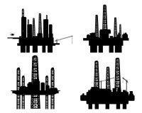 Cuatro plataformas petroleras Fotografía de archivo libre de regalías