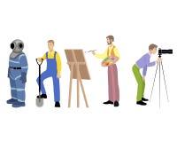 Cuatro profesiones fijadas Imagenes de archivo
