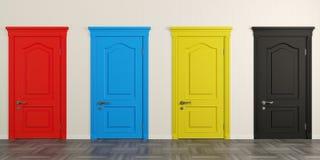 Cuatro puertas coloridas en la pared foto de archivo libre de regalías