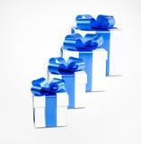 Cuatro rectángulos de regalo Imágenes de archivo libres de regalías