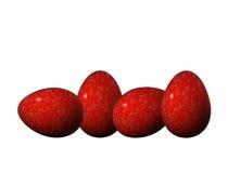 Cuatro rojos y huevos de Pascua de oro Fotos de archivo libres de regalías