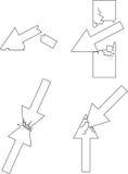 Cuatro rompieron flechas Foto de archivo libre de regalías