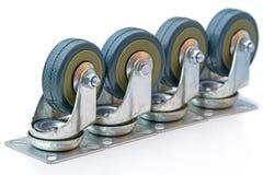 Cuatro ruedas de goma para los muebles Foto de archivo