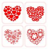 Cuatro símbolos del corazón Fotos de archivo libres de regalías