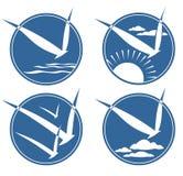 Cuatro símbolos del pájaro stock de ilustración