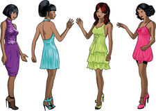 Cuatro señoras en vestidos de cóctel Fotografía de archivo