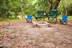 Cuatro sillas que acampan Fotografía de archivo libre de regalías
