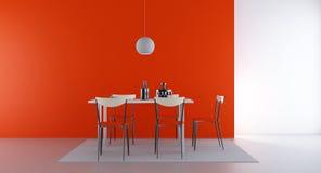Cuatro sillas y vectores para hacer frente a una pared en blanco Imagenes de archivo