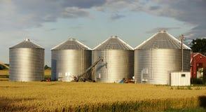 Cuatro silos Imágenes de archivo libres de regalías