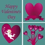 Cuatro siluetas para el día de tarjeta del día de San Valentín Foto de archivo