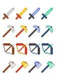 Cuatro sistemas del icono del pixel con los artículos para el juego: piqueta, espada, arco y hacha hechos de metales preciosos y  stock de ilustración