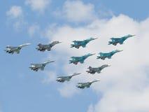 Cuatro Su-34 en Victory Parade Imágenes de archivo libres de regalías