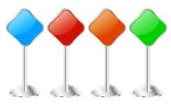 Cuatro tableros de mensajes metálicos de la muestra del pedestal Imagen de archivo