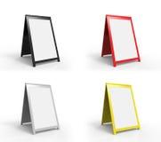 Cuatro tableros de publicidad plegables en blanco Fotografía de archivo