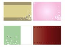 Cuatro tarjetas de la tarjeta del día de San Valentín del St Imagenes de archivo