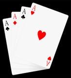 Cuatro tarjetas de los as sapdes del juego de póker de la tarjeta del ace Fotografía de archivo
