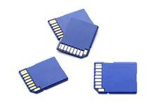 Cuatro tarjetas de memoria SD en blanco Fotografía de archivo