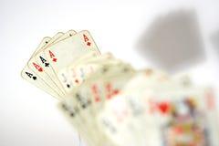 Cuatro tarjetas que juegan de los as Foto de archivo