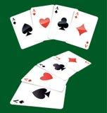 Cuatro tarjetas que juegan de los as Imágenes de archivo libres de regalías