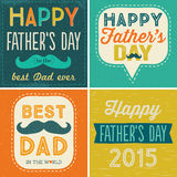 Cuatro tarjetas tipográficas del día de padres libre illustration