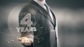Cuatro tecnologías disponibles de Holding del hombre de negocios de 4 años nuevas ilustración del vector