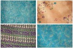 Cuatro texturas de la tela del satén Fotos de archivo