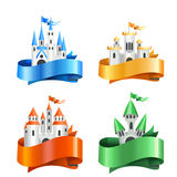 Cuatro tipos de castillos de la historieta envueltos en cintas stock de ilustración