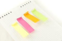 Cuatro tiras de papel coloreado Foto de archivo libre de regalías