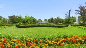 Cuatro tiros de fuente Ceres, y 'Las Nereidas ', jardín del Parterre en Aranjuez, España, 06/02/2019 D?a muy caliente almacen de metraje de vídeo