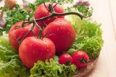 Cuatro tomates grandes y dos pequeños, lechuga, ajo en una cesta Imagenes de archivo