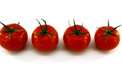 Cuatro tomates rojos con las ramas verdes mienten en el centro en un fondo blanco imágenes de archivo libres de regalías