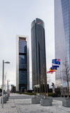 Cuatro Torres Business Area (CTBA) building skyscrapers, in Madr stock photography