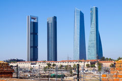 Cuatro Torres Business Area from railroad. Madrid Royalty Free Stock Photo