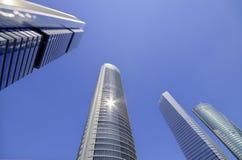 Cuatro torres financieel centrum in Madrid op 4 Mei, 2013 Stock Foto's