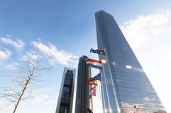 Cuatro Torres Geschäftsbereich, Madrid Stockbild