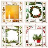 Cuatro ventanas de la Navidad Fotos de archivo