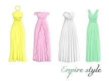 Cuatro vestidos en estilo del imperio Imágenes de archivo libres de regalías