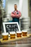 Cuatro vidrios de cerveza del arte en la bandeja del dechado de la cerveza Foto de archivo