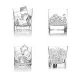 Cuatro vidrios de hielo Imágenes de archivo libres de regalías
