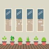 Cuatro vidrios de Windows con las plantas de tiesto en piso de madera Foto de archivo libre de regalías