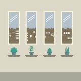 Cuatro vidrios de Windows con las plantas de tiesto en piso de madera Foto de archivo