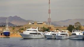 Cuatro yates blancos en el Mar Rojo Egipto fotografía de archivo