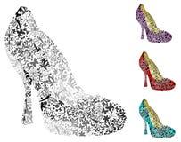 Cuatro zapatos de la vendimia Fotos de archivo libres de regalías