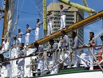 Cuauhtemoc Crew. Photo of crew of tall mast ship called the cuauhtemoc in baltimore maryland on 6/13/12 for the bicentennial sailabration event. This ship is the Stock Image