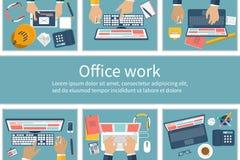 Cubículos de la oficina con la gente stock de ilustración