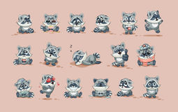 Cub ρακούν κινούμενων σχεδίων χαρακτήρα Emoji αυτοκόλλητη ετικέττα emoticons με τις διαφορετικές συγκινήσεις Στοκ Εικόνα