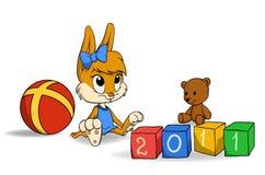Cub del coniglietto con i mattoni royalty illustrazione gratis