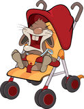 Cub of a rabbit in a children's carriage Royalty Free Stock Photos
